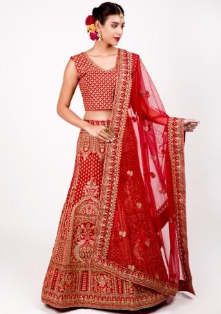 Scarlet Red Heavy Emroidered Bridal Lehenga Set