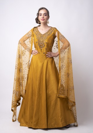 Mustard Heavy Embroidered Glamorous Gown with Dupatta