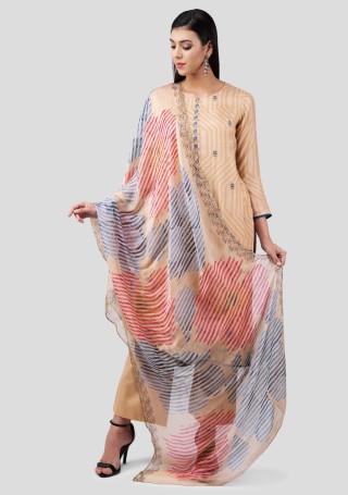 Light Beige Muslin Silk Embroidered Suit Set