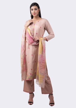 Pale Pink Muslin Silk Embroidered Suit Set