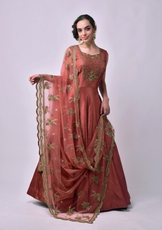 Rust Heavy Embroidered Glamorous Gown with Dupatta