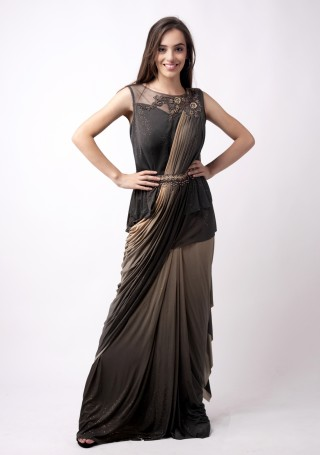 Dusty Black and Beige Ready to wear Embroidered Lycra Saree cum Gown