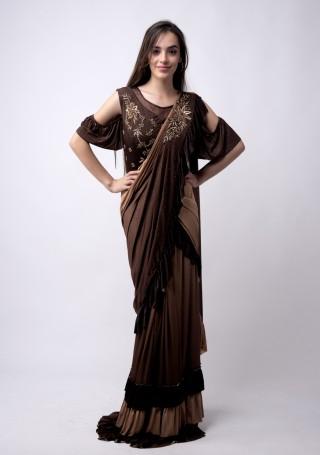 Dark Brown and Beige Ready to wear Embroidered Lycra Saree cum Gown