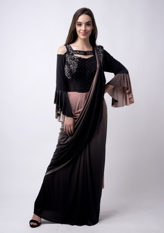 Dark Purple and Rosy pink Ready to wear Embroidered Lycra Saree cum gown