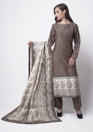Deep Mauve Printed Kurta Pant Set